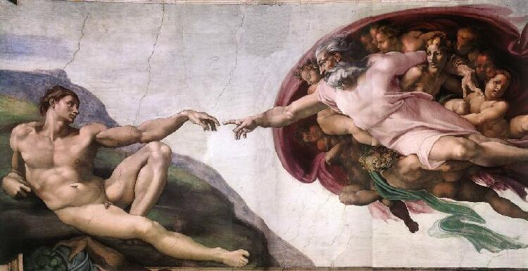 Искусство Высокого Возрождения.Микеланджело. Сотворение Адама. Деталь росписи сикстинской капеллы.